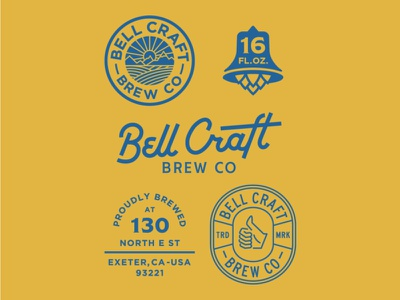 Bell Craft Brew Co craft beer logo beer branding identity brewery craft beer beer sunset retro logo badge lettering vintage design illustration outdoor typography branding