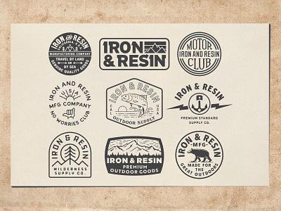 Iron And Resin suns sunset shaka pines tree bear sun mountain outdoor california vintage illustration typogaphy type daily type logodesign logo brand identity branding design