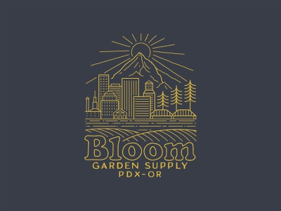 Bloom Garden Supply cannabis badge logo mountain sun pine trees buildings cityscape city pdx oregon portland retro typography design outdoor tee tee design branding