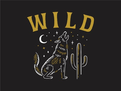 W I L D moon wolf logo lettering branding camp apparel vintage typography illustration outdoor stars night cactus desert howling wolf wild