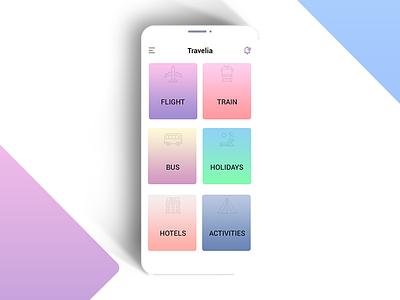 Daily UI #009 (Travelia Apps design) ux ui travelia minimal iphone iosdesign gradient exploration dailyui appsdesign android