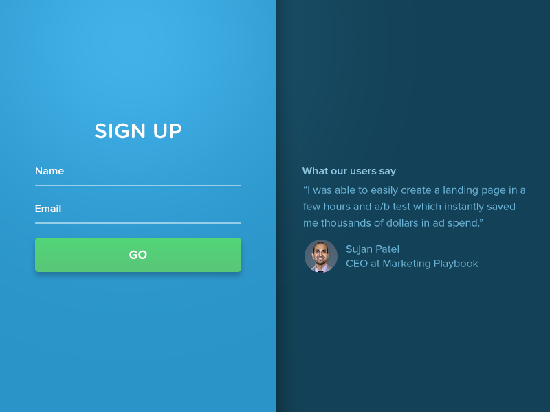 012 - Sign Up sign in material design testimonial form email login account signup