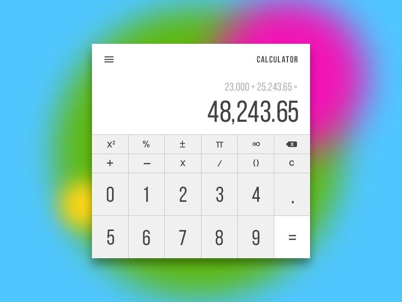 015 - Panoramic Calculator material algebra tool widget numbers formulas math calculator