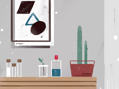 Slience house design art cactus grey plants silence painting doodle drawing illustration home