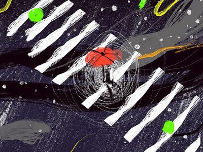 Little Outer Space creative rain design illustration umbrella dark outer space road