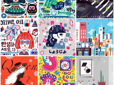 9 fashion modern art creative color painting doodle digital art graphic sketch