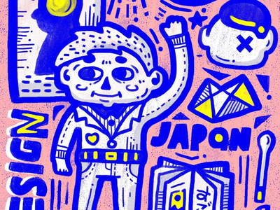 Boy art fashion japan child pink painting illustration boy doodle sketch drawing