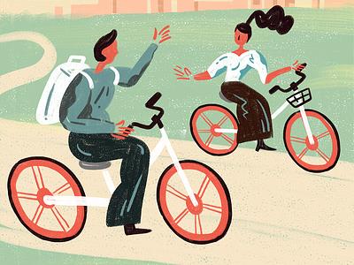 Let's Mobike art drawing sketch artwork wacom illustrator creative graphic travel trip boy girl mobike bicycle design painting doodle illustration