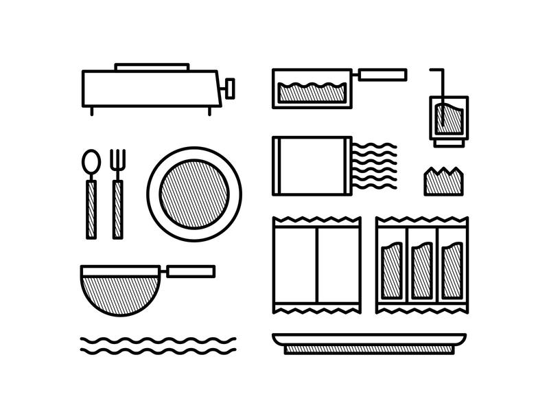Instant Noodle Set cook ramen instant noodle line art icon pictogram symbol art vector illustration minimalist artwork graphicdesign design