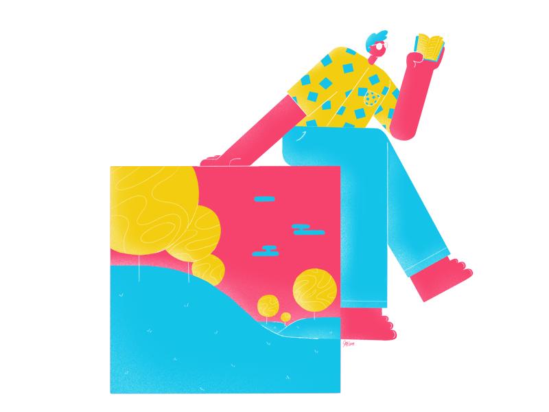Bookworm glasses man bright color summer book character design drawing design character illustration