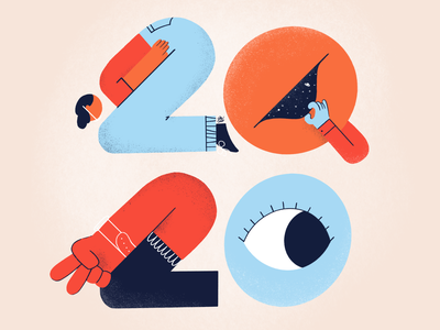 2020 doodle drawing illo 2020 shape color number character design illustration
