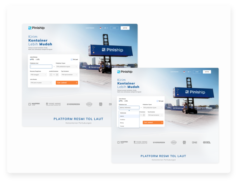 Search a Shipping Schedule blue design search homepage webdesign ux ui