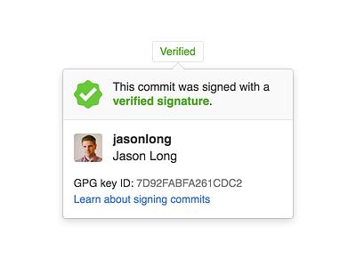 Popover for signed Git commits git pgp gpg popover verification github