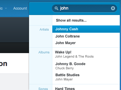Rdio Search Concept rdio search ui