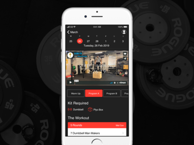 Wodify App Redsign mobile crossfit fitness app ui