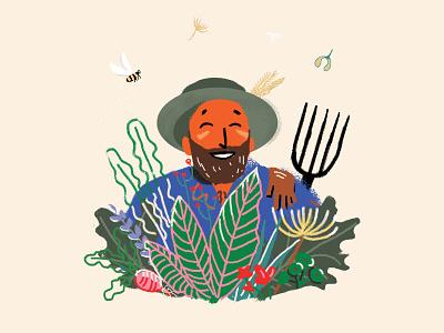 Father nature bee plant illustration gardener garden plant icon logo branding illustraion vector