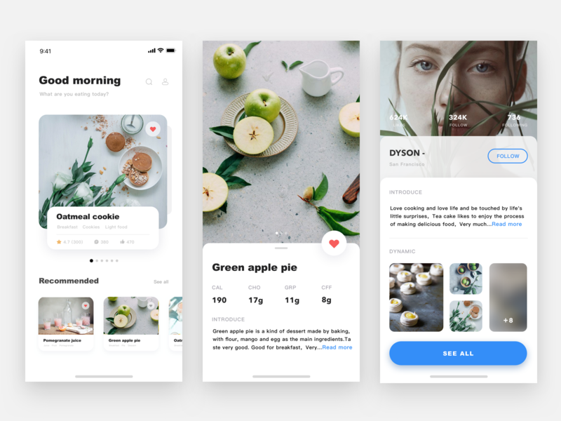 Cate  APP  🍰 cate food sketch app list card design ui