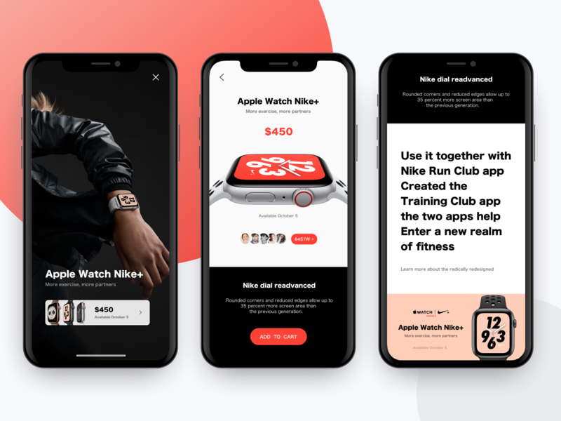 Apple Watch Store Concept concepting watch shop store stop nike ux app sketch list card design ui