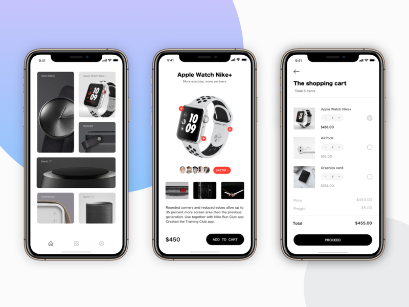 Store App  Concept shopping nike apple shop ux watch bank app sketch list design card ui