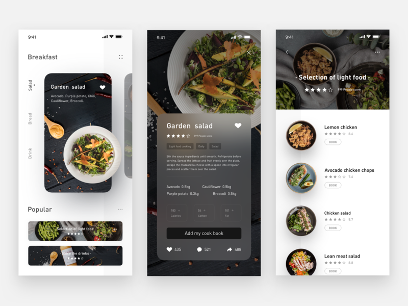 🍳🌭🍞🍗🧀🍖🥗🥙🍝 cooking salad food app card sketch list design ui