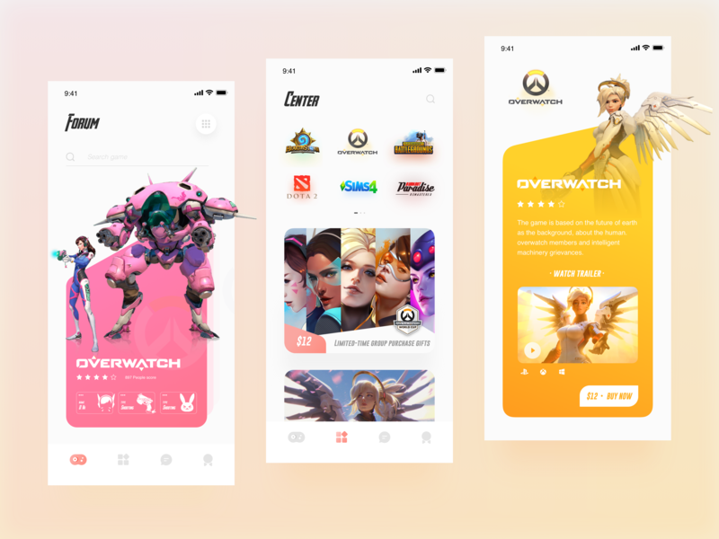 App Store 🎮 dribbble game colour clean app store ow overwatch app card list design ui