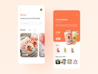 Drink APP orange drink shop app sketch card list design ui