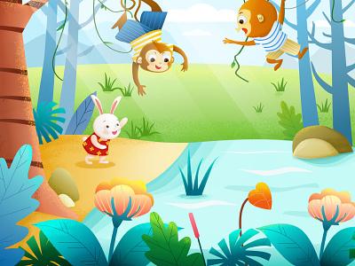 Forest Paradise photoshop iiiustrator sketch child monkey rabbit animal
