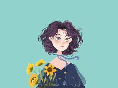 Girl avatar iiiustrator photoshop sketch