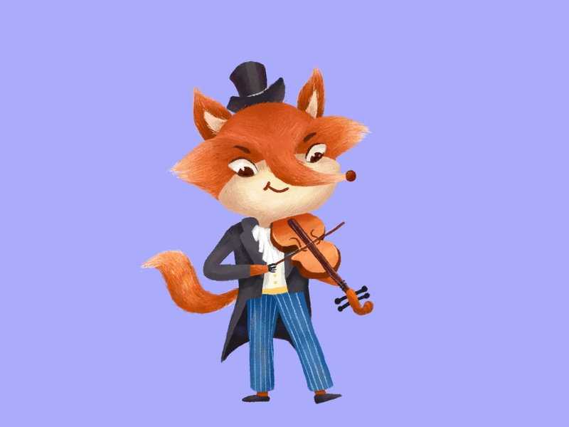 violinist sketch illustrations iiiustrator music violin fox animal