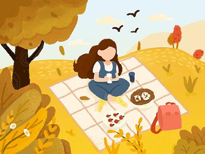 Picnic autumn illustrations sketch