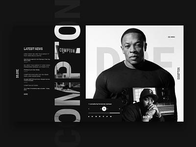 Dr.Dre compton dr.dre dre black  white concept web design xd adobe xd ux homepage adobe adobexd uidesign design ui