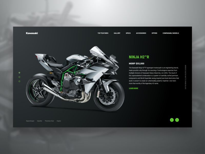 Kawasaki NINJA H2™R freebie concept web design adobe xd xd ux homepage adobe adobexd uidesign design ui