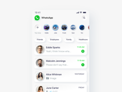 Experimental neomorphic concept of WhatsApp