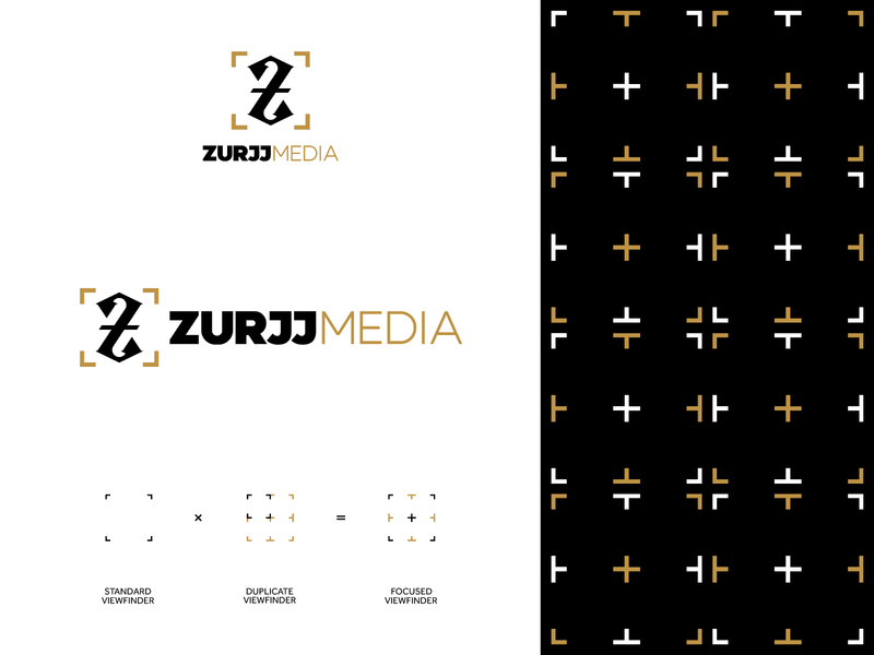 ZURJJMEDIA - Lockup & Pattern z viewfinder modern unique brand identity logo design media photography professional business brand illustrator symbol creative identity mark logo design branding adobe