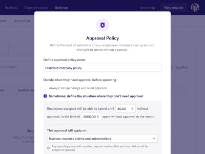 New approval policy 👮♀️ finance spendesk modal fintech saas web app application interface design ux ui