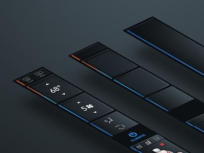 Tesla Edge UI Concept curved in-car climate head-unit dashboard car automotive tesla
