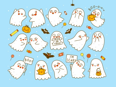 Set of cute little ghosts with pumpkins and bats cute kawaii illustration halloween ghost happy cartoon vector usbfco shutterstock huhli13