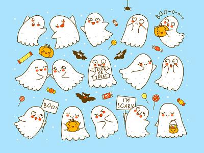 Set of cute little ghosts with pumpkins and bats cute kawaii illustration halloween ghost happy cartoon vector usbfco shutterstock huhli13