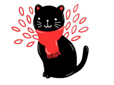 Winter Kitty зима шарф иллюстрация дудл кот art cute red cat