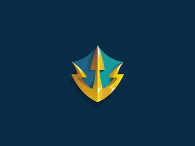 Trident Shield Logo Concept blizzard wow mmorpg mmo icon atlantic sea ocean aquaman security illustration trident aquatic blue turquoise aqua gold shield vector logo