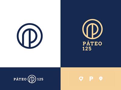 Páteo 125 proposal alphabet logo circle logo circle location pin roundabout coworking portugal line logo modern gold logotype mark p mark p logo letter p p blue logo branding