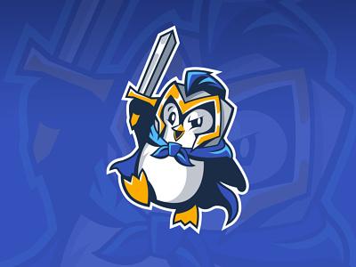 Warrior Penguin 🐧 Mascot proposal animal hero cape animal logo cartoon penguin warrior penguin logo winter esports gold blue knight helmet sword warrior cute penguin character design mascot logo illustration