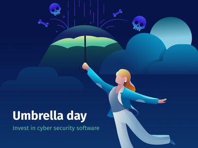 Umbrella Day floating virus rain mary poppins woman cybersecurity cyber security antivirus umbrella illustration