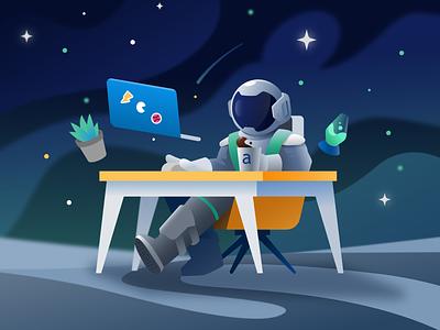 Space Desk 🌕🚀 character design working chill helmet spacesuit stars productivity lava lamp algardata laptop gravity desk moon space illustration astronaut