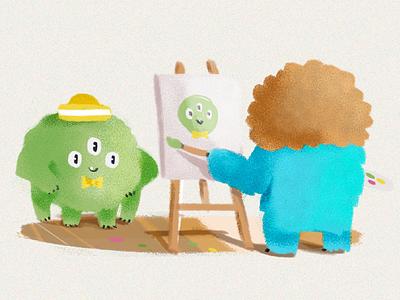 Little Monster Artist 🎨 bob ross illustration character design mascot digital digitalart art
