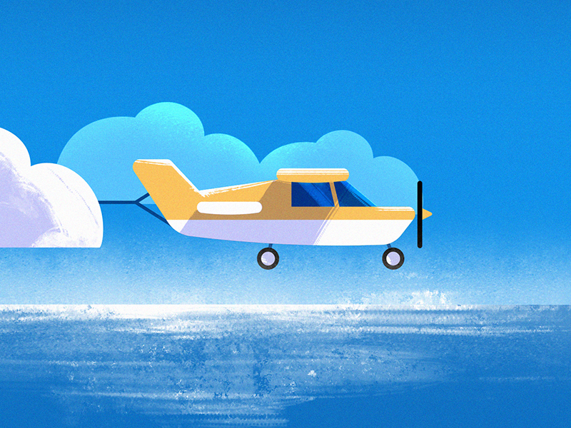 Cloud 🛩️ orange cloud airplane blue summer tutorial free branding vector illustration