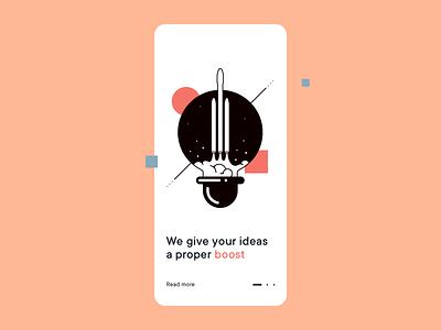 Idea Boost simple lightbulb boost space rocket sdh illustration typography vector ux minimal ui clean design