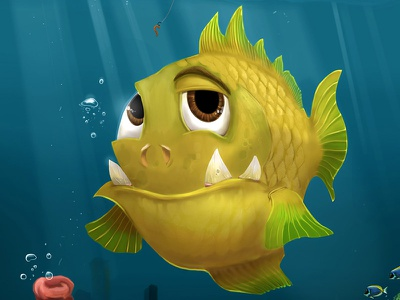 Goliath Fish Closeup wise monster goliath fish ocean illustration digital painting