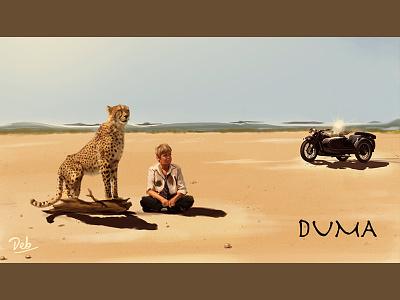 Duma Fan Art Digital Painting painting illustration friendship wild cheetah movie desert duma africa savannah digital art