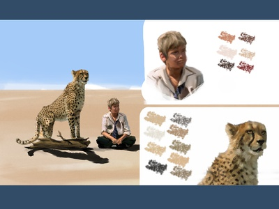 Duma Fan Art Digital Painting, Breakdown color palette. painting illustration friendship wild cheetah movie desert duma africa savannah digital art